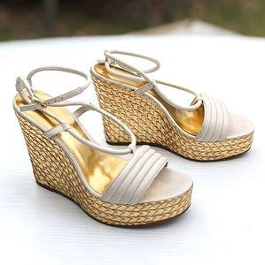 COACH Blanch Gold Platform Wedge Ankle Wrap Sandal